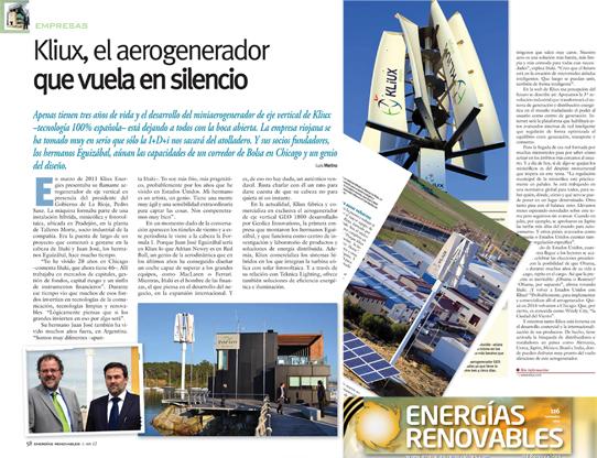 Artículo en Energías Renovables sobre Kliux Energies